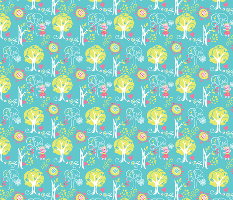 Kitty Forest Blue fabric by meganhagelcreative on Spoonflower - custom fabric