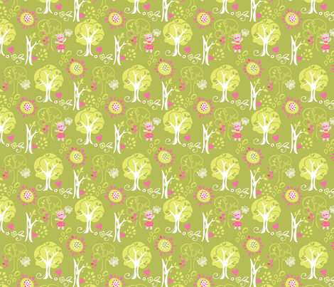 Kitty Forest Lime fabric by meganhagelcreative on Spoonflower - custom fabric