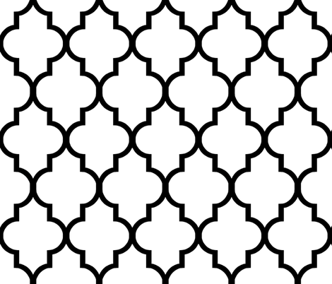 Classic White and Black Quatrefoil fabric by sparrowsong on Spoonflower - custom fabric
