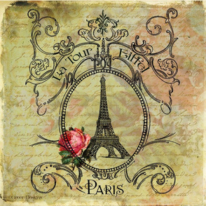 Eiffel Tower &amp; Red Rose Steampunk