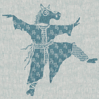 Horse Dancer - blue ink