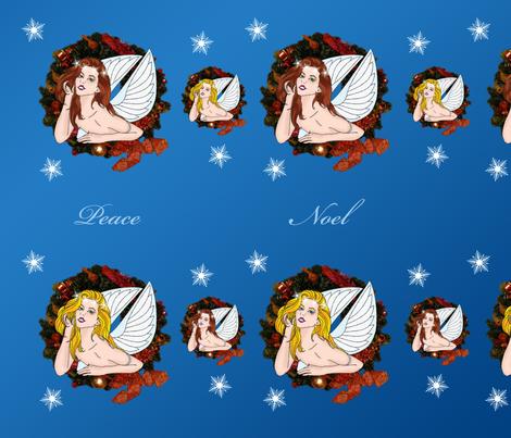 Angel Wreath Peace Noel fabric by laurijon on Spoonflower - custom fabric