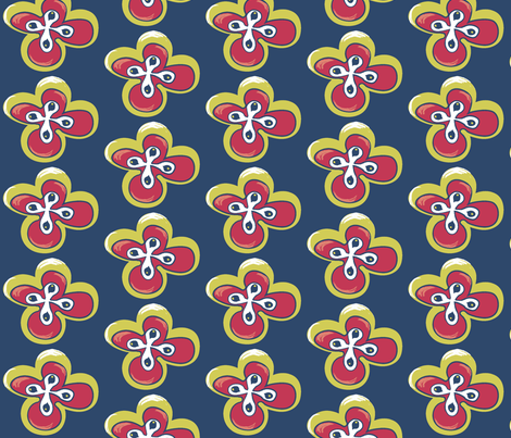 Painted floral on blue fabric by pinkbrain on Spoonflower - custom fabric