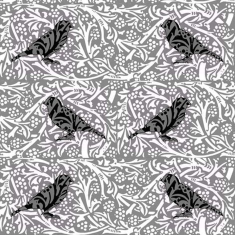Bird Songs 22 - Duet in Black and White fabric by dovetail_designs on Spoonflower - custom fabric
