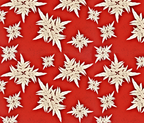 Snowflakes Hawaiian Style Lauae fern fabric by waiomaotiki on Spoonflower - custom fabric