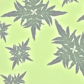 Hawaiian Quilt design light greens