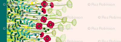 meadow flowers poppy border - single large