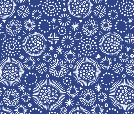 Indigo Starburst Doodles, larger scale fabric by elizajanecurtis on Spoonflower - custom fabric