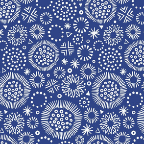 Indigo Starburst Doodles, larger scale