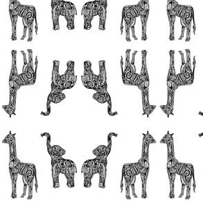 Tribal Animals (Elephants & Giraffes)
