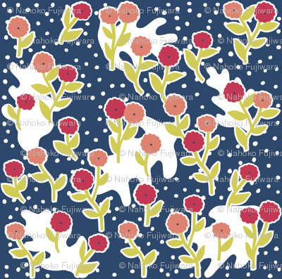 matisse's winter garden - navy blue, pink
