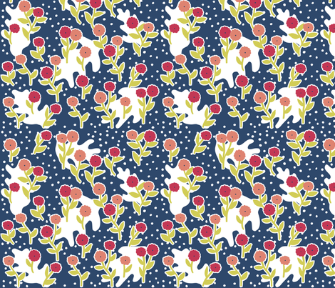 matisse's winter garden - navy blue, pink fabric by gingerme on Spoonflower - custom fabric