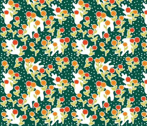 matisse's winter garden - dark green, orange fabric by gingerme on Spoonflower - custom fabric