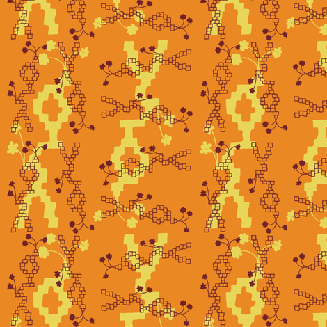 Orange bricks fabric by ivoryshades on Spoonflower - custom fabric