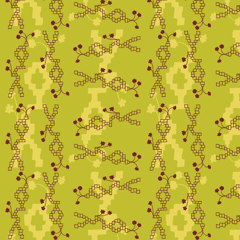Green Bricks fabric by ivoryshades on Spoonflower - custom fabric
