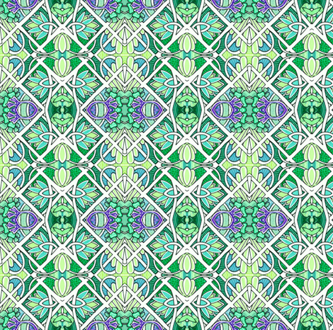 Emerald Deco Patchwork fabric by edsel2084 on Spoonflower - custom fabric