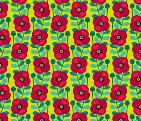 Poppy stem - grass green fabric by coggon_(roz_robinson) on Spoonflower - custom fabric