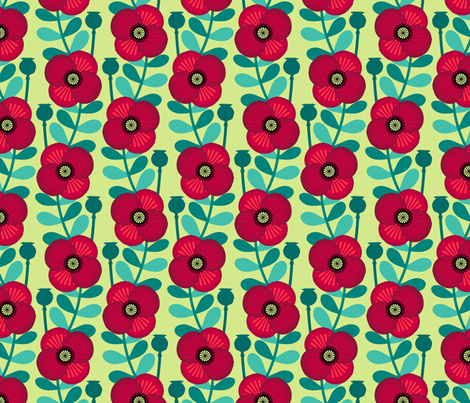 Poppy stem - pale green fabric by coggon_(roz_robinson) on Spoonflower - custom fabric