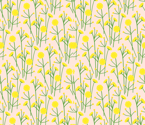 Buttercups - wheat fabric by coggon_(roz_robinson) on Spoonflower - custom fabric