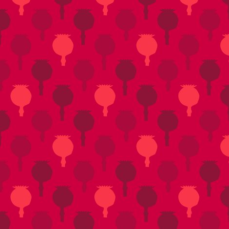 Polka poppy pods - red fabric by coggon_(roz_robinson) on Spoonflower - custom fabric