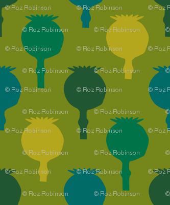 Polka poppy pods - green