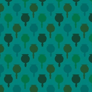 Polka poppy pods - teal