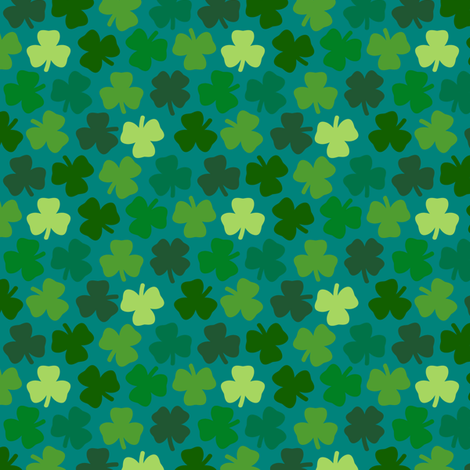 Lucky four leaf clover - teal fabric by coggon_(roz_robinson) on Spoonflower - custom fabric