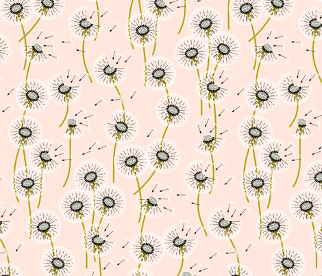 Fanciful flight - make a dandelion wish! - wheat fabric by coggon_(roz_robinson) on Spoonflower - custom fabric