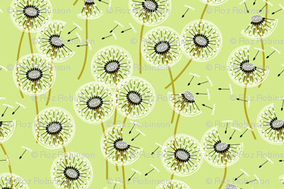 Fanciful flight - make a dandelion wish! - pale green