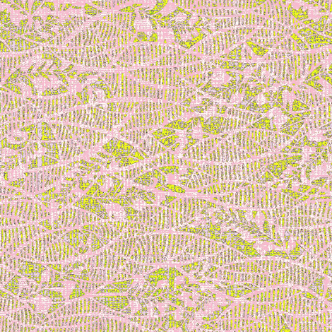 Soft fern - pink lace, yellow green, lavender.  Wedding fabric by materialsgirl on Spoonflower - custom fabric