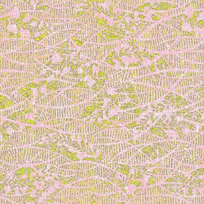 Soft fern - pink lace, yellow green, lavender.  Wedding