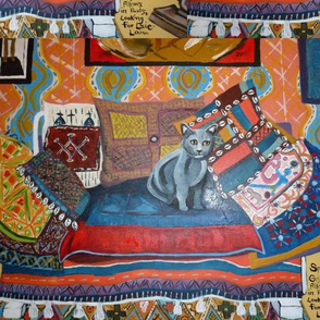Sprocket on Gujarati Pillows Looking for Louie-Louie