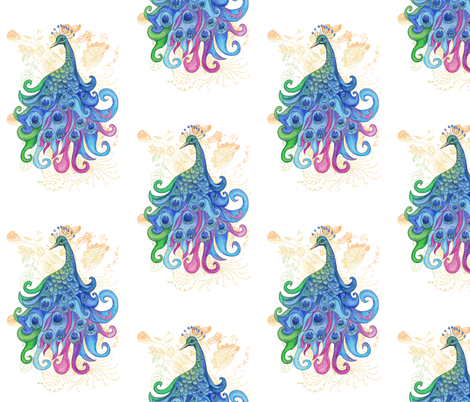 Peaceful Peacock fabric by aftermyart on Spoonflower - custom fabric