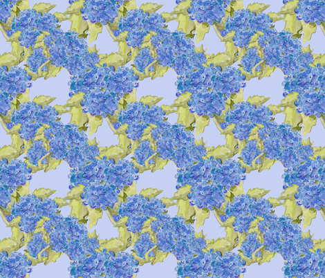 Blue Hydrangeas on Blue fabric by aftermyart on Spoonflower - custom fabric