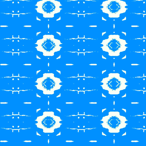 White Flowers  on blue background fabric by dk_designs on Spoonflower - custom fabric