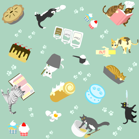 Cats Baking Cakes fabric by ninniku on Spoonflower - custom fabric