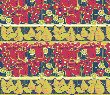 Fruit and Flowers Stripe - Horizontal fabric by rubydoor on Spoonflower - custom fabric