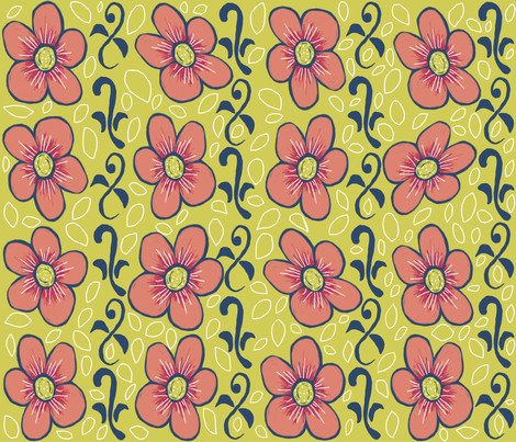 Matisse flowers and vines ©indigodaze2012 fabric by indigodaze on Spoonflower - custom fabric