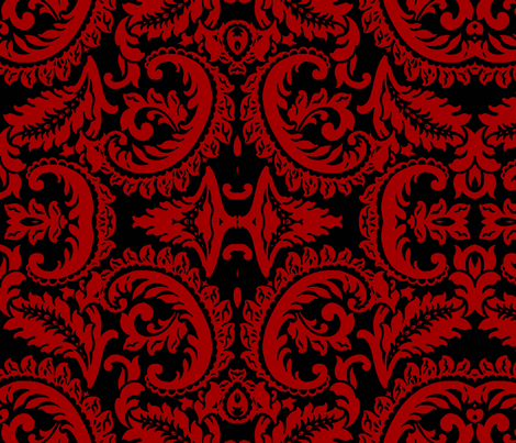 Damask Red/Blk fabric by nascustomwallcoverings on Spoonflower - custom fabric
