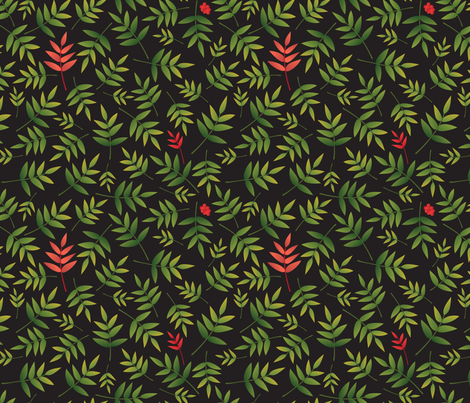 Nandina Leaves-black fabric by melhales on Spoonflower - custom fabric