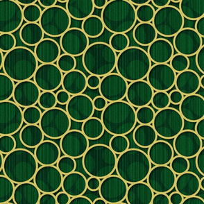 green spots with gold circles