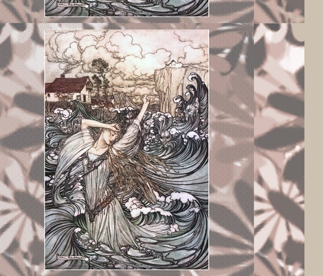 "Arthur Rackham ""Undine"" - drawstring backpacks fabric by craftyscientists on Spoonflower - custom fabric"