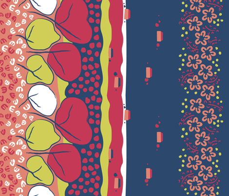 Flowers &amp; Trees, Matisse Border Print fabric by ravenous on Spoonflower - custom fabric