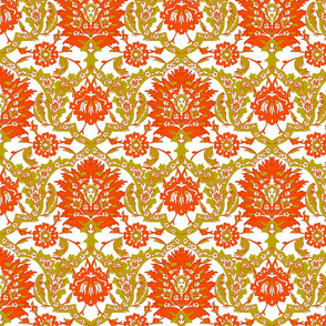 Cynthia Damask, Orange / Mustard Yellow