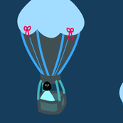 robot travelling in hot air balloon