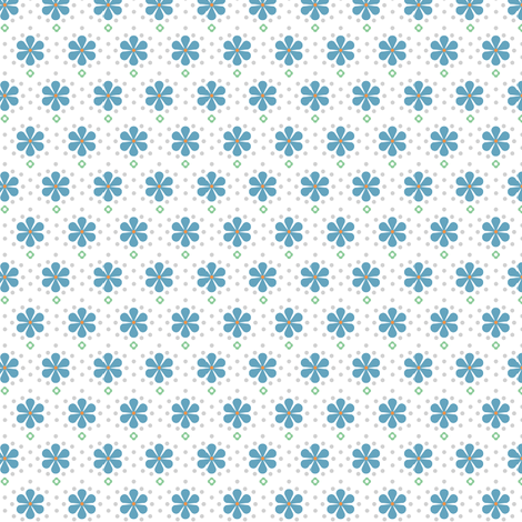 Dots and Flowers - blue on white