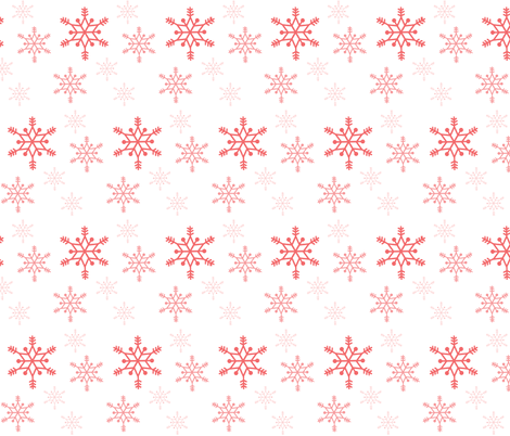 Snowflakes - coral on white fabric by little_fish on Spoonflower - custom fabric