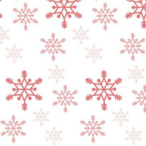 Snowflakes - coral on white