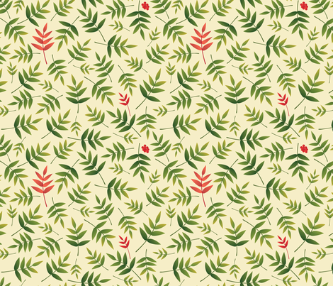 Nandina leaves-Cream fabric by melhales on Spoonflower - custom fabric