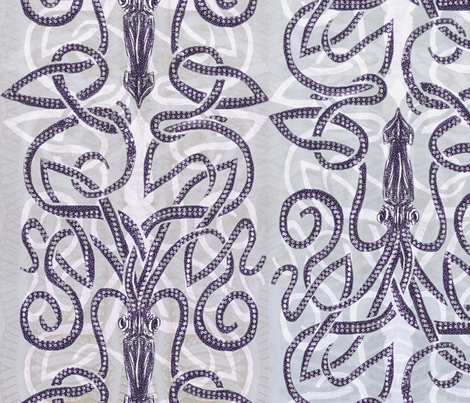Kraken wrapping with white fabric by wren_leyland on Spoonflower - custom fabric